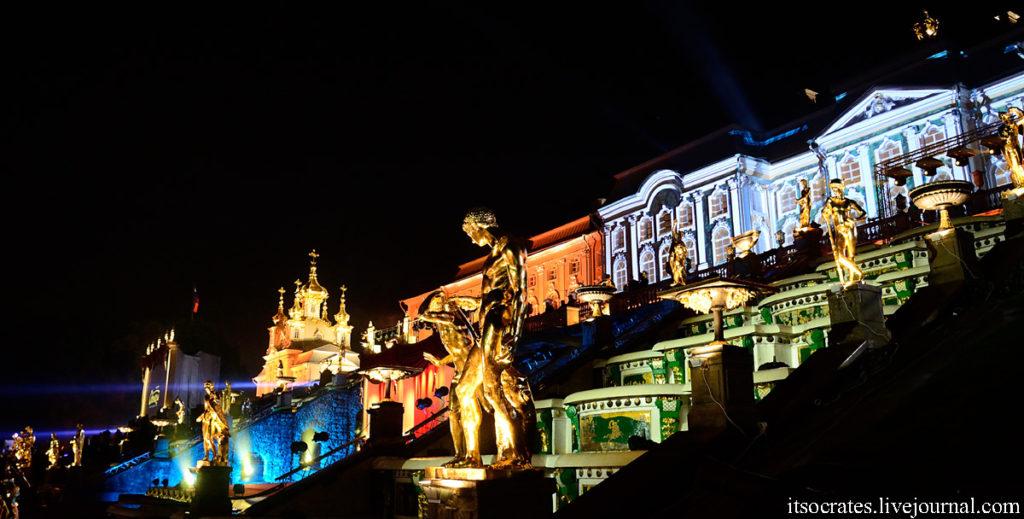 Петергоф закрытие фонтанов - подсветка Петергофа и фонтанов