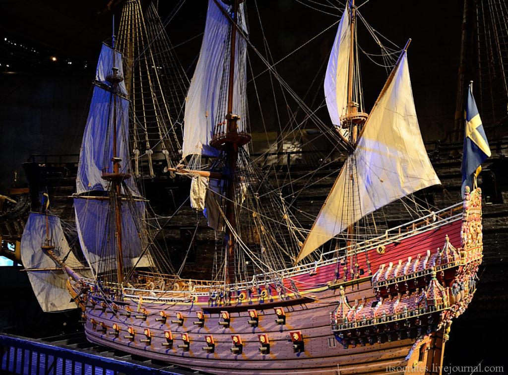 Корабль Васа в миниатюре, каким он был при спуске на воду