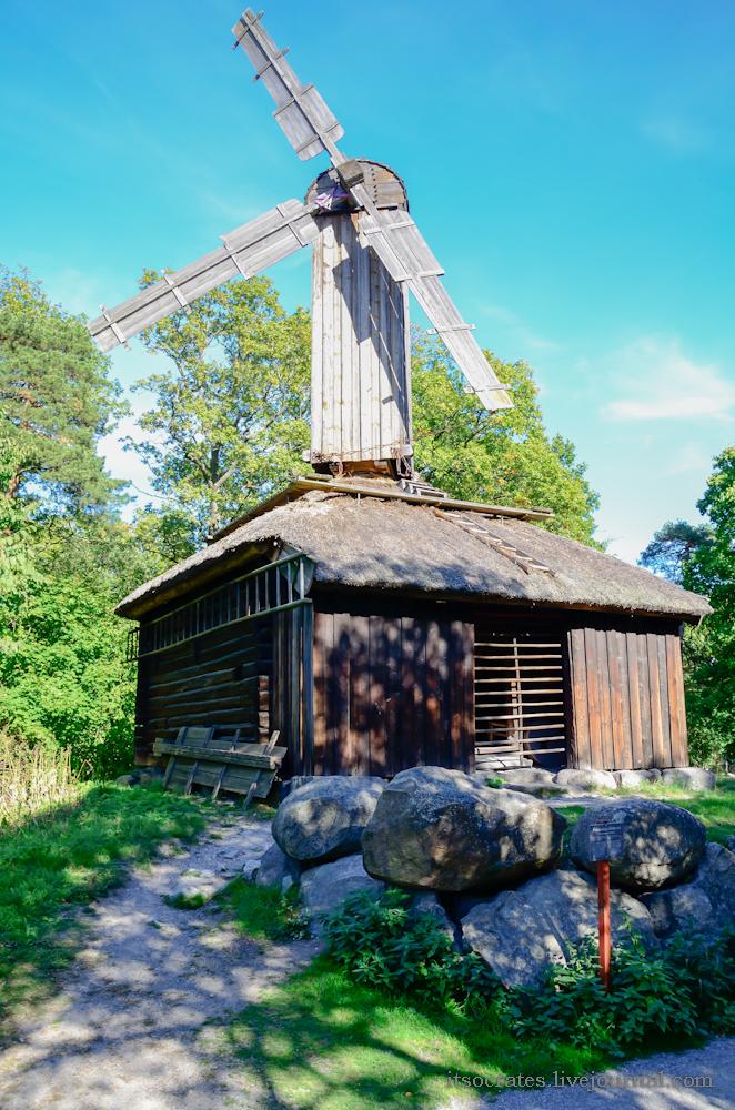 Скансен музей под открытым небом в Стокгольме - древние мельницы