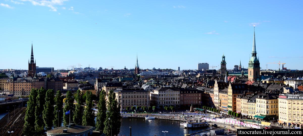 Фото Стокгольма с обзорной площадки в районе Слюссен - Катаринахиссен