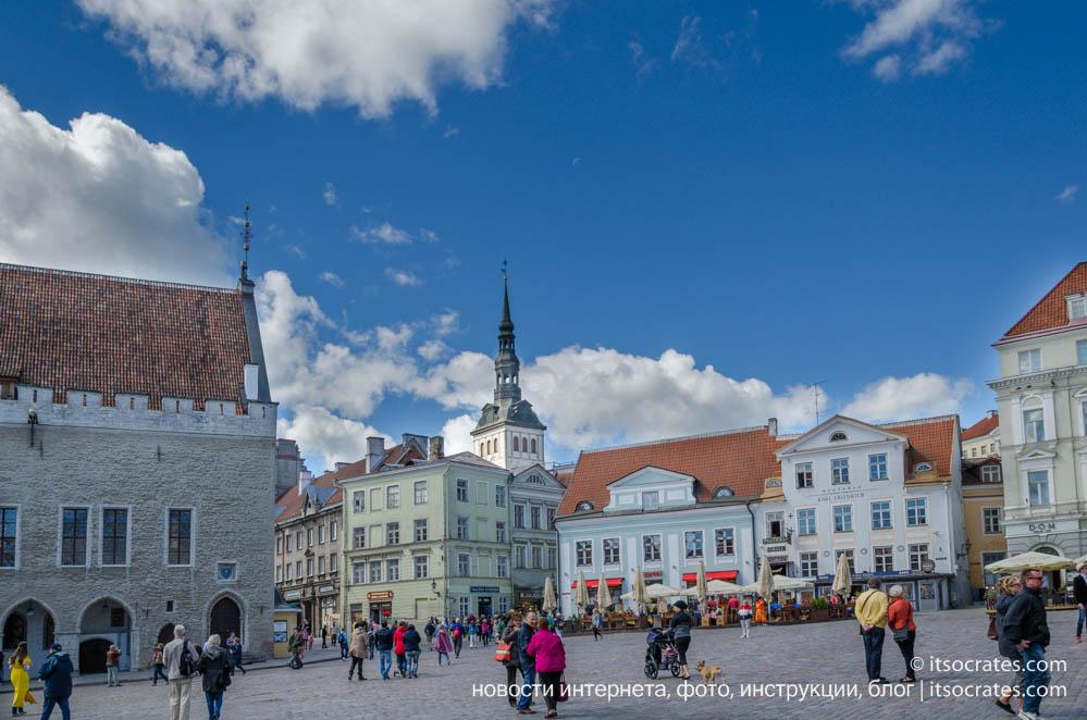 Фото Ратушной площади в Таллине в старом городе, основная достопримечательность