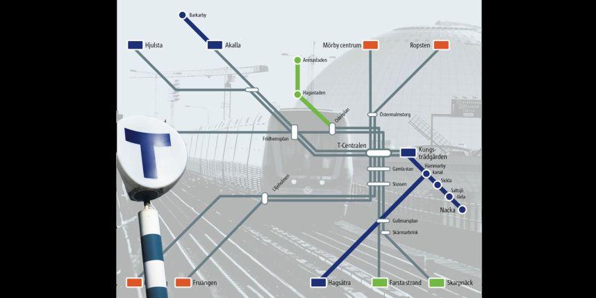 Карта метро Стокгольма, Швеция
