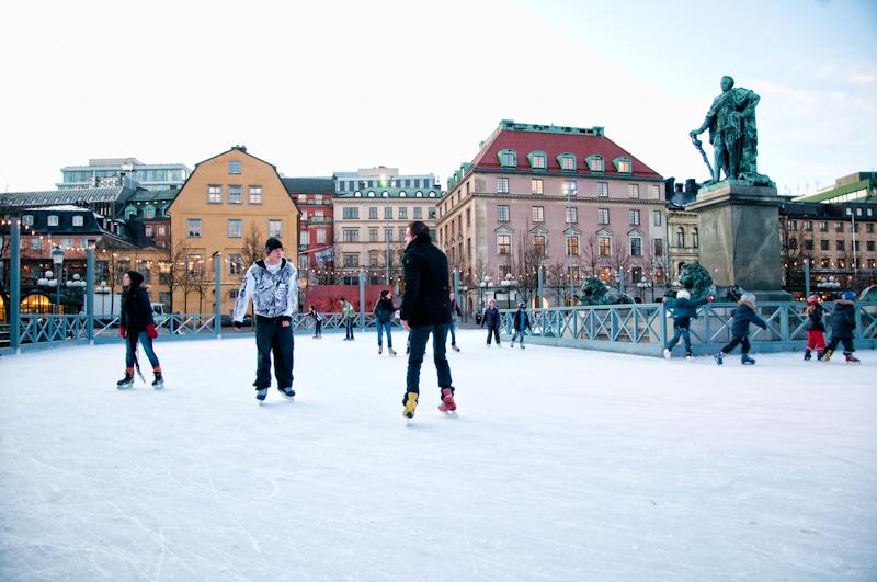Самый известный Стокгольмский каток находиться на площади Kungstradgarden