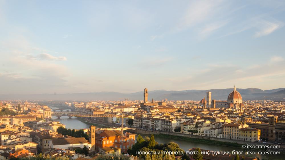 Вид на Флорнецию с площади Микеланджело, фото и фотографии Италии