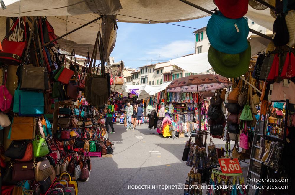 Кожаный рынок Сан-Лоренцо и фермеский рынок Mercato Centrale di San Lorenzo, Флоренция, Италия