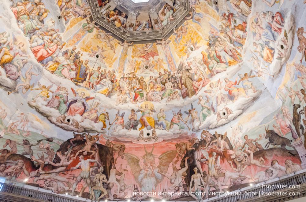 Купол Брунеллески и колокольня собора Санта-Мария-дель-Фьоре во Флоренции - вид на купол с колокольни - фрески купола сцена страшного суда