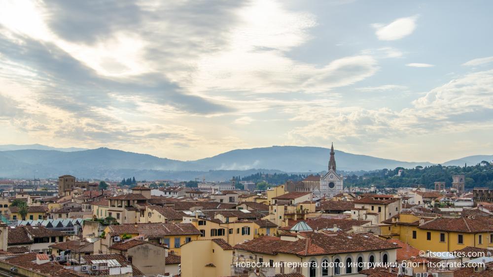 Купол Брунеллески и колокольня собора Санта-Мария-дель-Фьоре во Флоренции - вид на купол с колокольни - вид на Флоренцию с купола Брунеллески