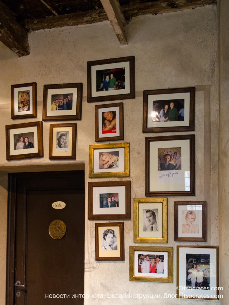 Самый крутой ресторан Флоренции - Trattoria Za-Za - стена с фотографиями знаменитостей