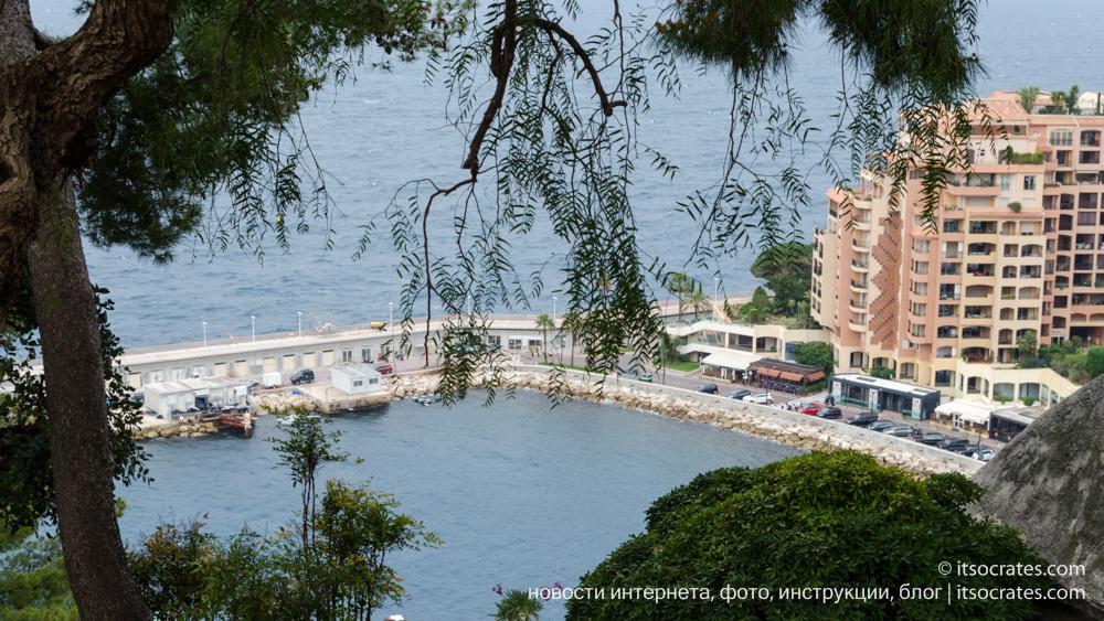 Сады святого Мартина в Монако с видом на бухту Фонвьей и множеством кактусов
