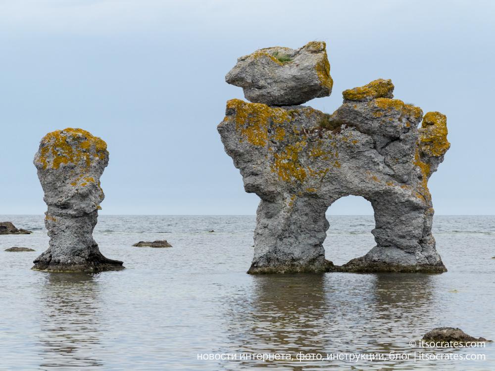 Остров Форё рядом с островом Готланд - каменный раукар в виде собаки