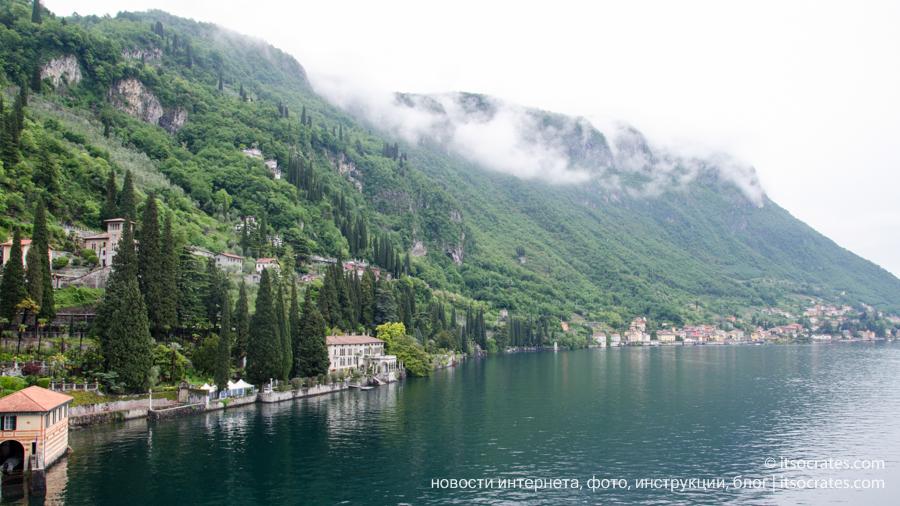 Вилла Чипресси в деревне Варенна на озере Комо - вид на озеро и горы