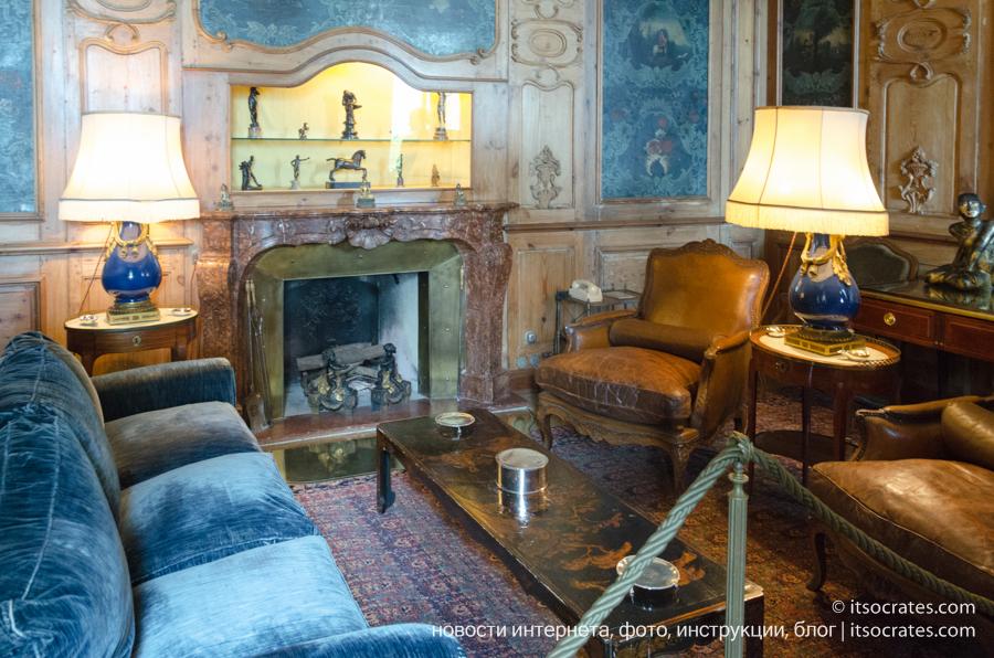 Музей виллы Бальбьянелло графа Гвидо Монзино, его коллекции и интерьер виллы Бальбьянелло - курительная комната
