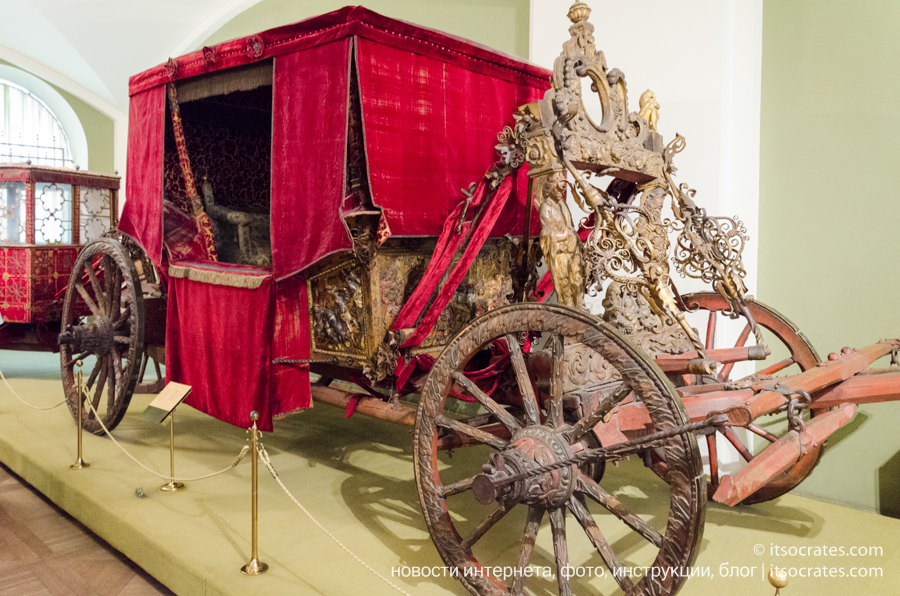 Оружейная палата, Московский Кремль - Колымага, Англия, конец XVI — начало XVII в. Подарок короля Англии Якова I царю Борису Годунову в 1603 г.