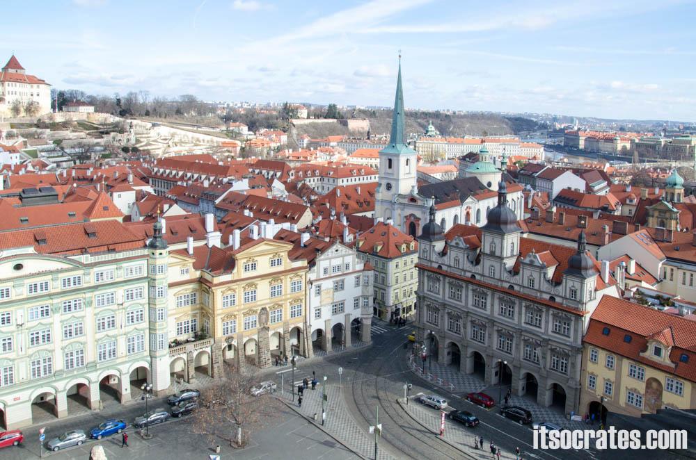 Достопримечательности Праги - Пражский град, Вид с колокольни церкви Св. Николая на малую сторону в Праге