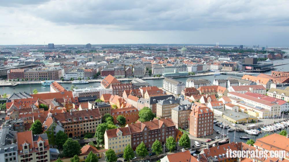 Достопримечательности Копенгагена, Дания - Церковь Спасителя - вид на Копенгаген со шпиля церкви